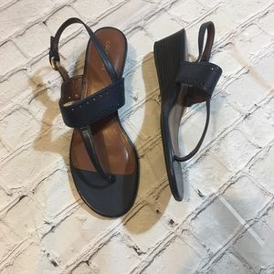 Cole Haan Size 8 Navy leather wedge sandals